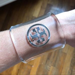Tory Burch Acrylic Silver Cuff Bangle Bracelet